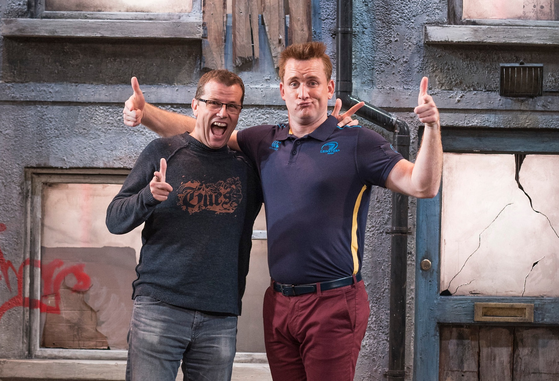 Paul Howard and Rory Nolan on the set of Ross O'Carroll-Kelly's Postcards from the Ledge at The Gaiety Theatre Oct 25 - Nov 11, 2017